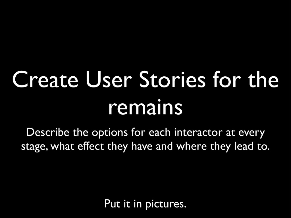 Create User Stories for the remains Describe th...