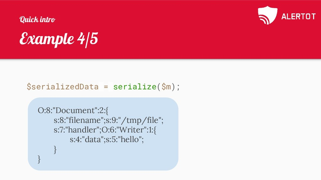 Example 4/5 $serializedData = serialize($m); O:...