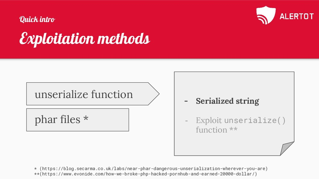 Exploitation methods * (https://blog.secarma.co...