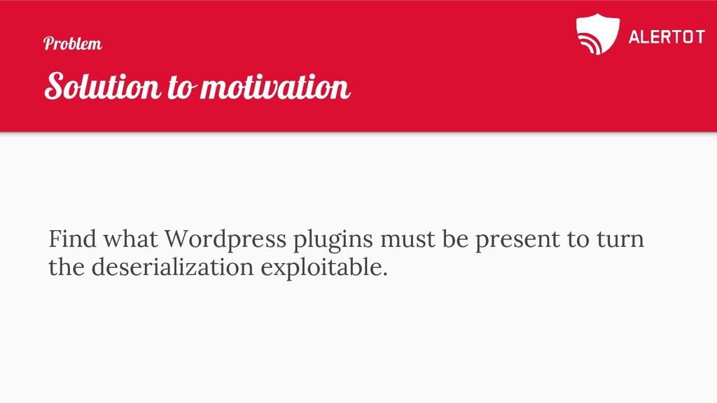 Solution to motivation Find what Wordpress plug...
