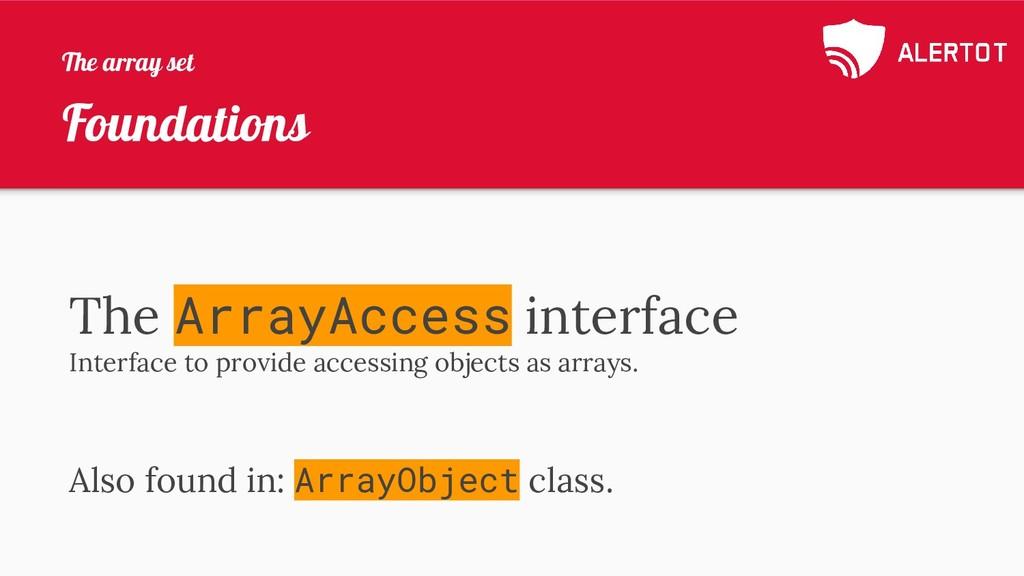Foundations The ArrayAccess interface Interface...