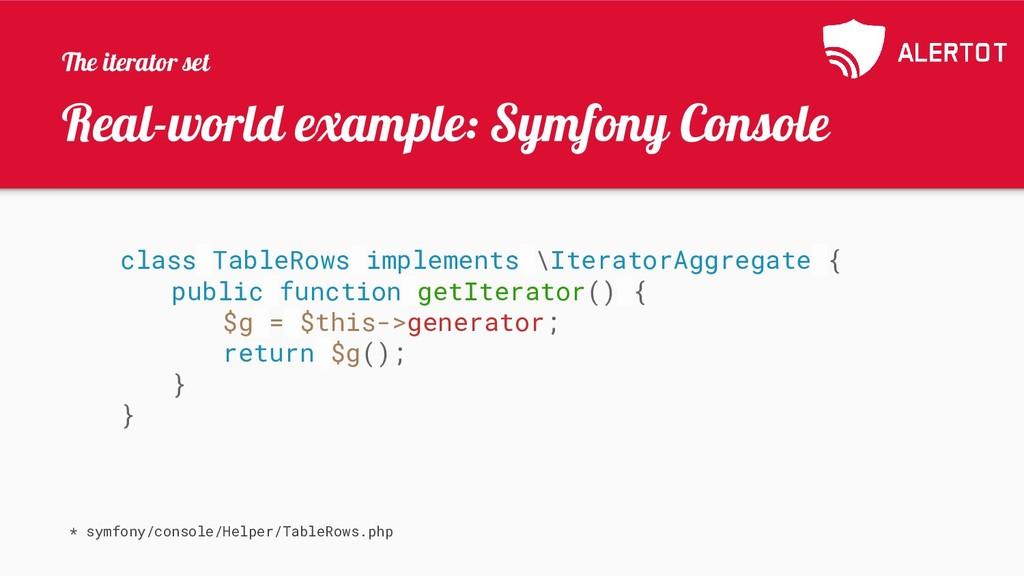 Real-world example: Symfony Console class Table...
