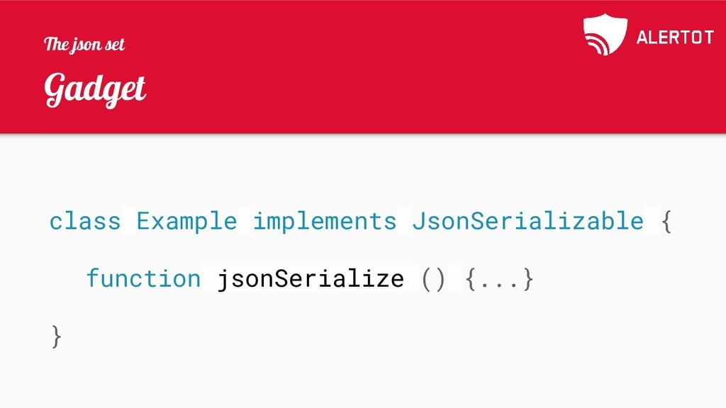Gadget class Example implements JsonSerializabl...