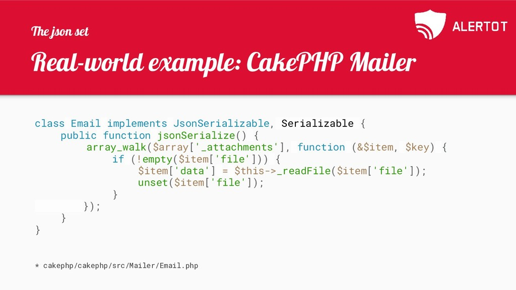Real-world example: CakePHP Mailer class Email ...