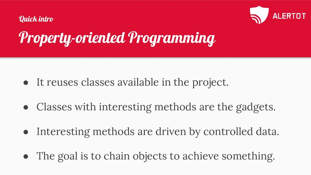 Property-oriented Programming ● It reuses class...