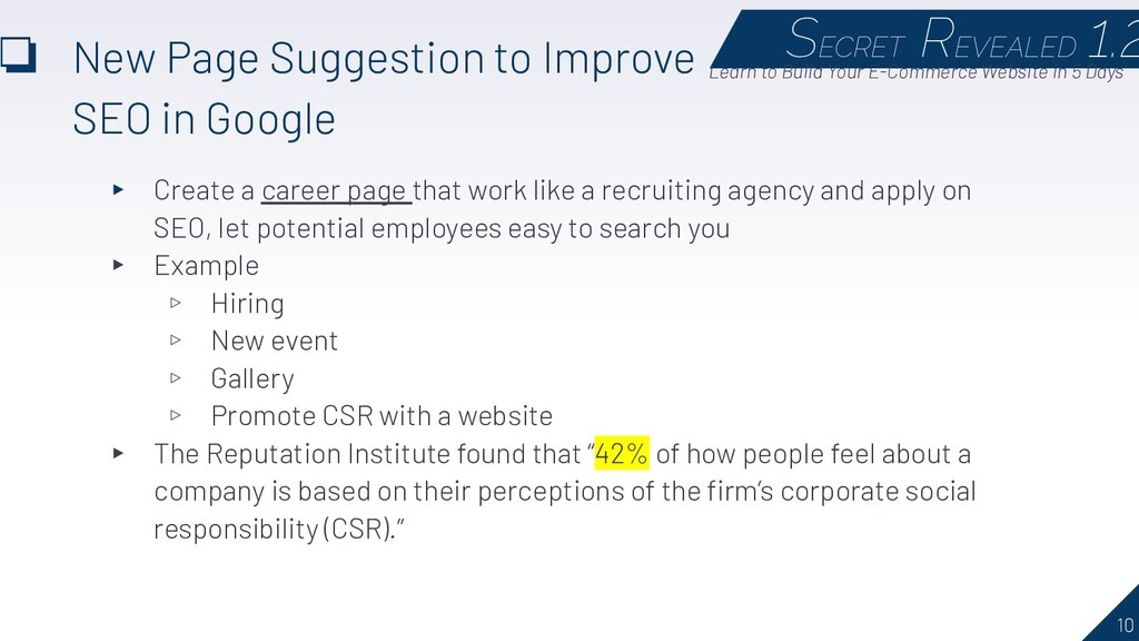10 ❏ New Page Suggestion to Improve SEO in Goog...