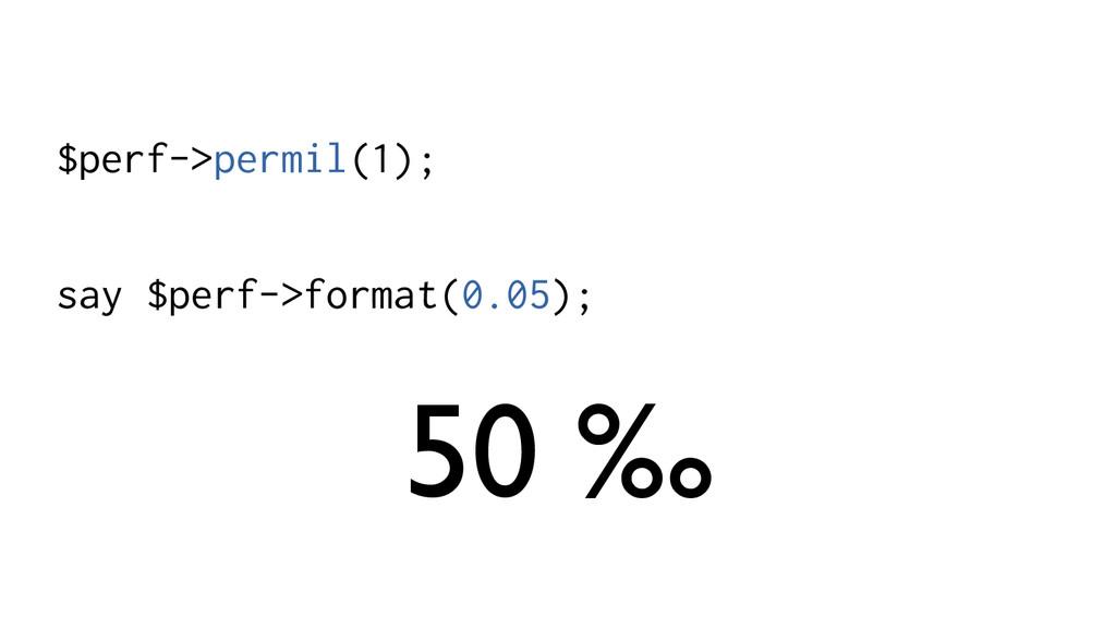 $perf->permil(1); say $perf->format(0.05); 50 ‰