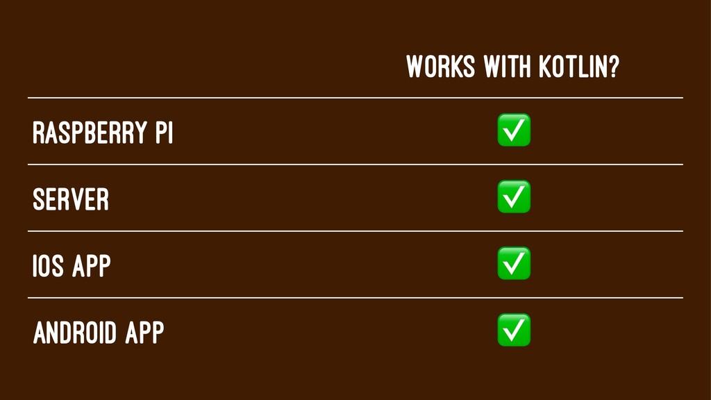 Works With Kotlin? Raspberry pi ✅ Server ✅ iOS ...