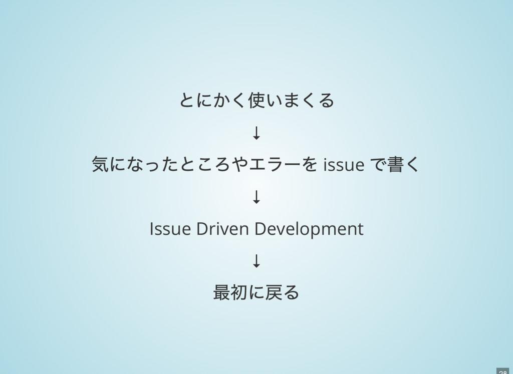 とにかく使いまくる ↓ 気になったところやエラーを issue で書く ↓ Issue Dri...