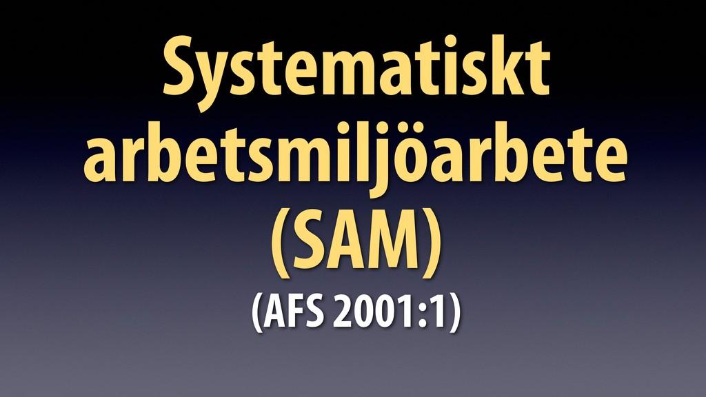 Systematiskt arbetsmiljöarbete (SAM) (AFS 2001:...