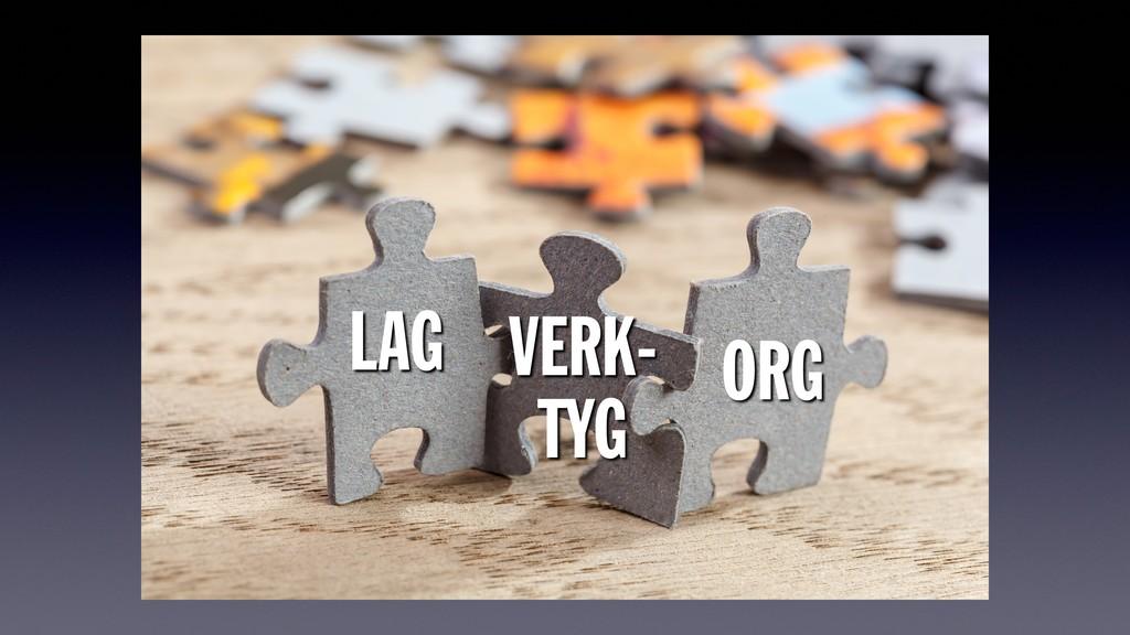 LAG ORG VERK- TYG
