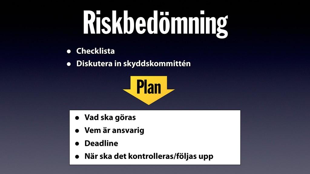 Riskbedömning • Checklista • Diskutera in skydd...