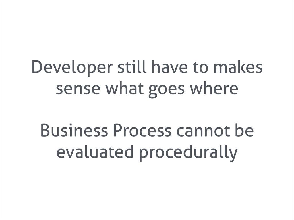 Developer still have to makes sense what goes w...