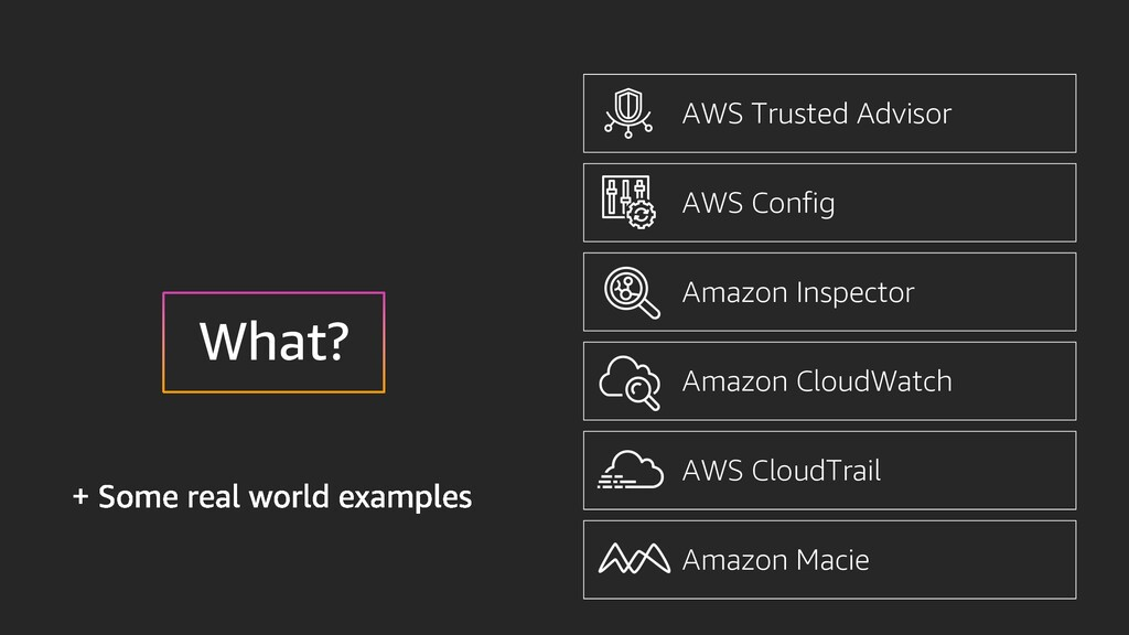 AWS Trusted Advisor AWS Config Amazon Inspector...