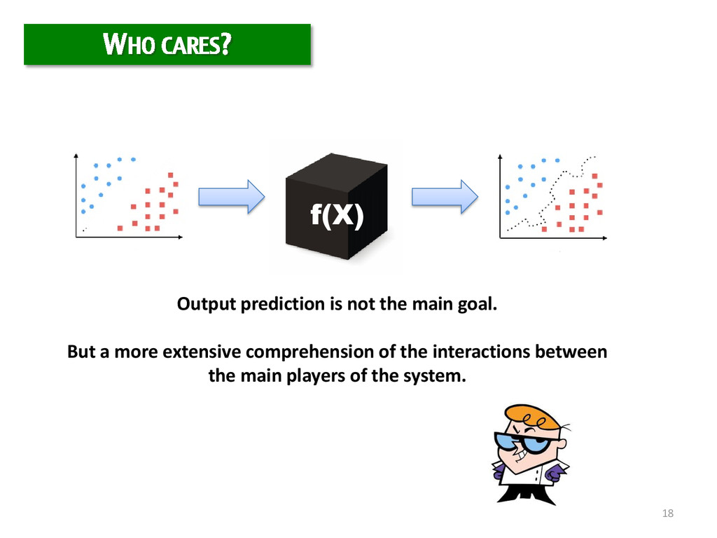 18 WHO CARES? f(X) Output prediction is not the...