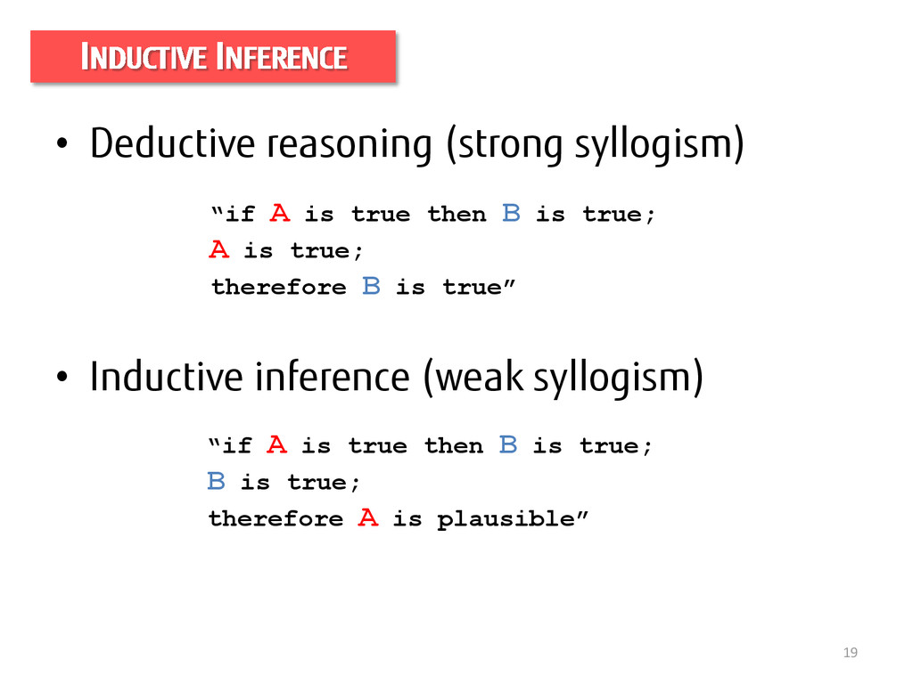 19 INDUCTIVE INFERENCE • Deductive reasoning (s...