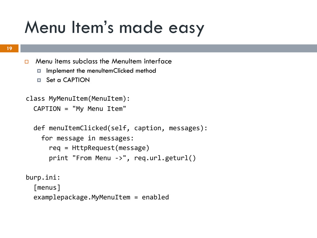 Menu Item's made easy 19 ¨ Menu items subclas...