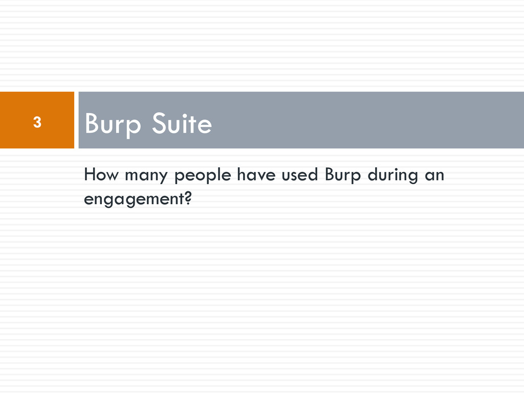 How many people have used Burp during an engage...