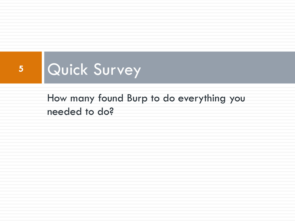 How many found Burp to do everything you needed...