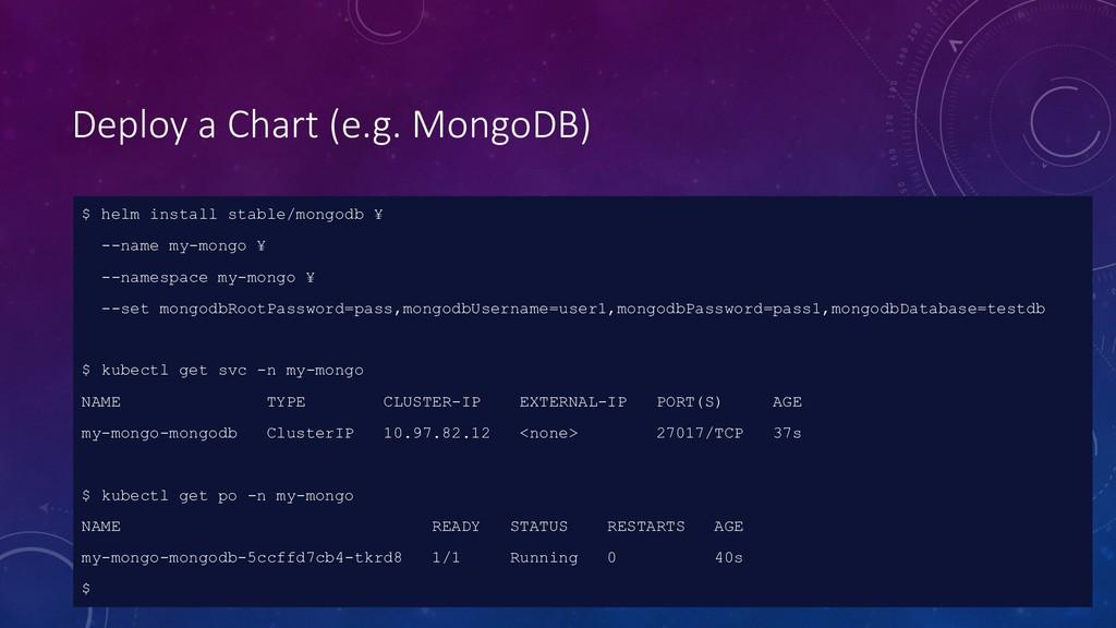 Deploy a Chart (e.g. MongoDB) $ helm install st...