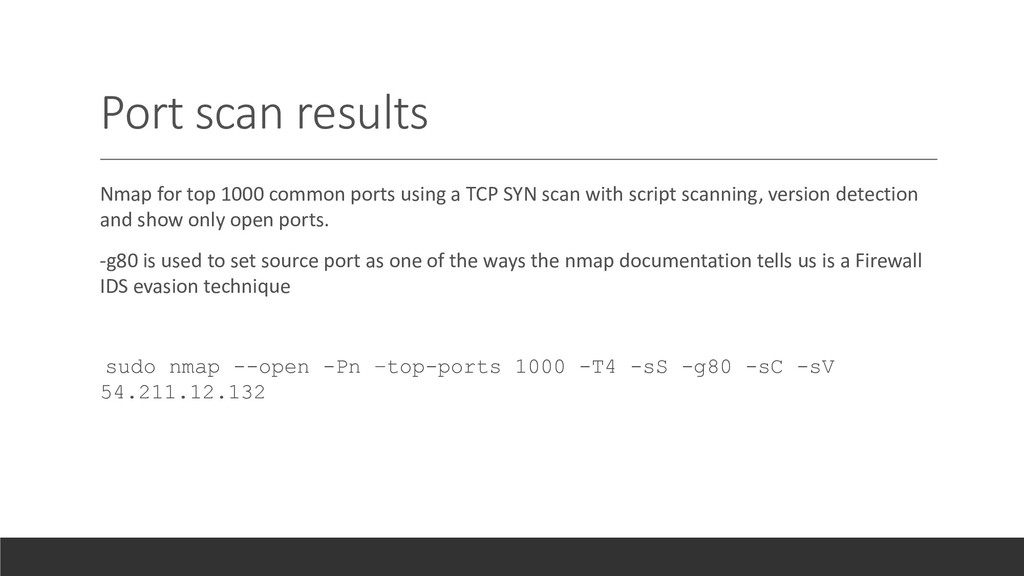 Port scan results Nmap for top 1000 common port...