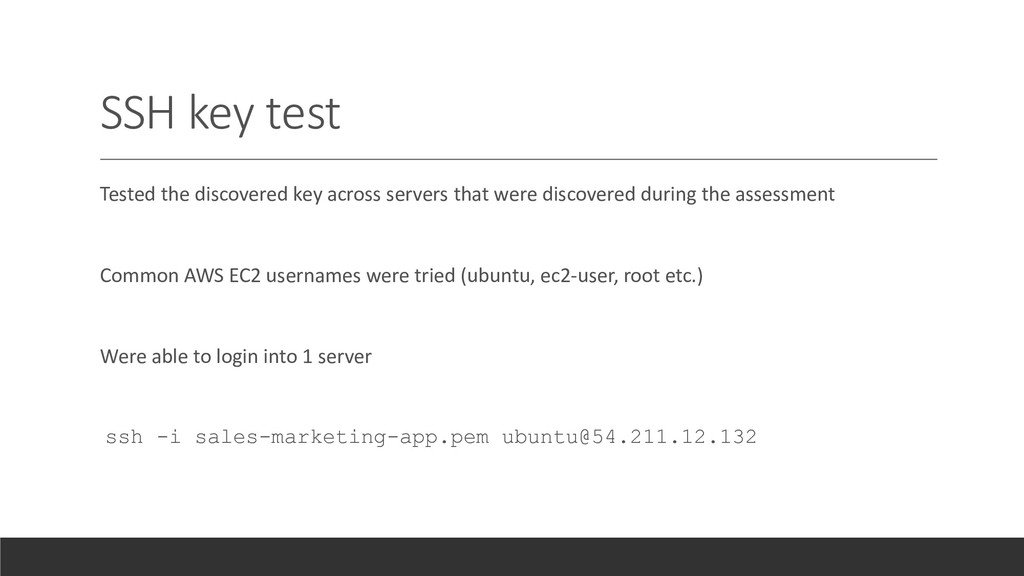 SSH key test Tested the discovered key across s...
