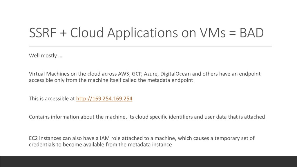 SSRF + Cloud Applications on VMs = BAD Well mos...