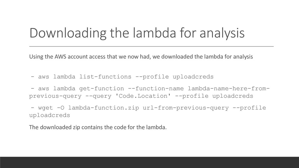 Downloading the lambda for analysis Using the A...