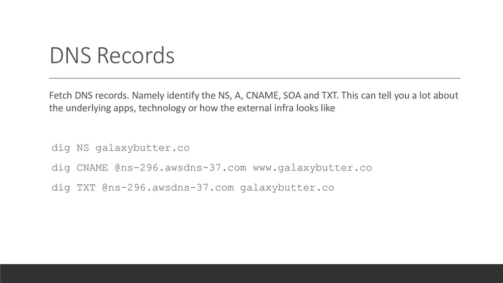 DNS Records Fetch DNS records. Namely identify ...