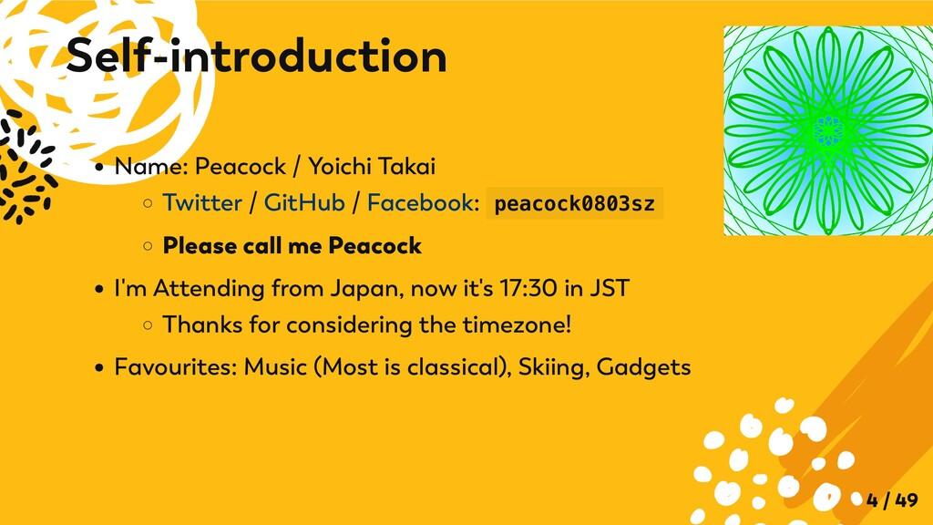 Name: Peacock / Yoichi Takai Twitter / GitHub /...