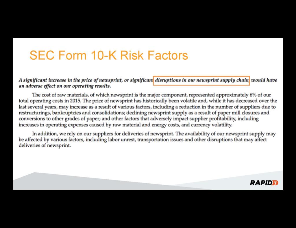 SEC Form 10-K Risk Factors