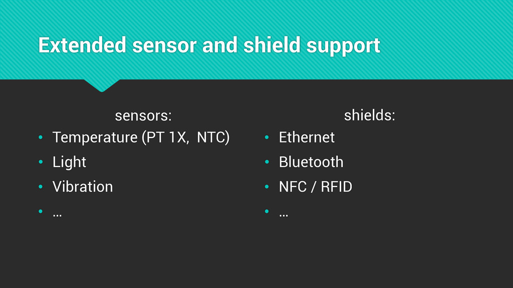 Extended sensor and shield support sensors: • T...