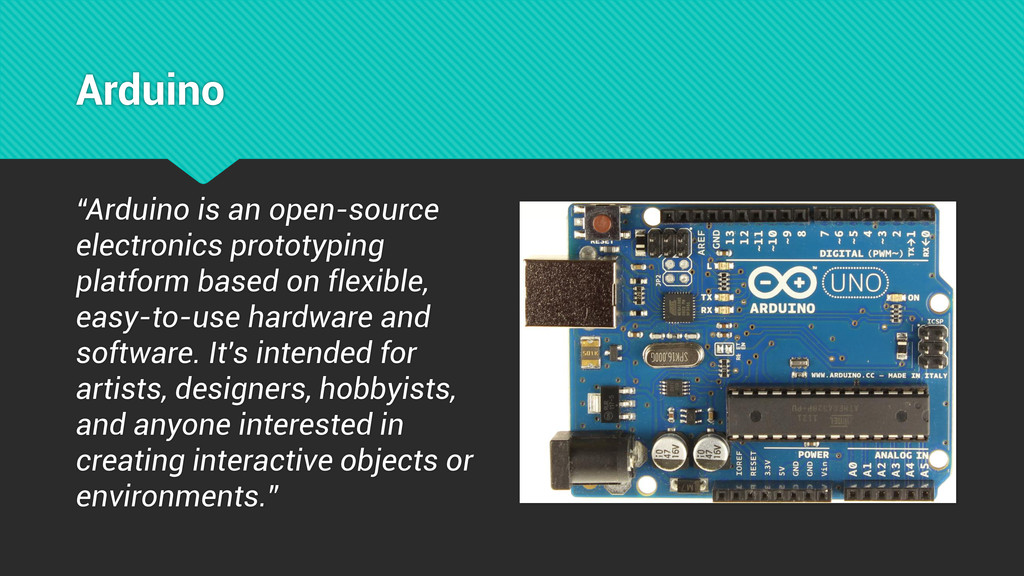 "Arduino ""Arduino is an open-source electronics ..."