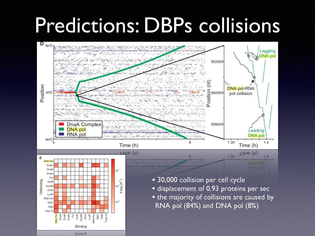 Predictions: DBPs collisions • 30,000 collision...