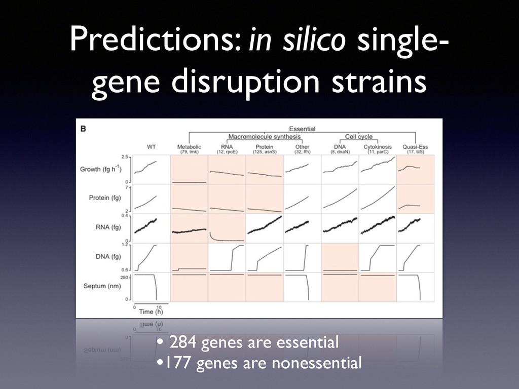 Predictions: in silico single- gene disruption ...