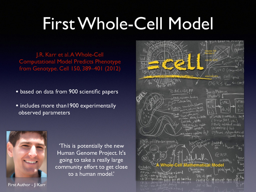 First Whole-Cell Model • based on data from 900...