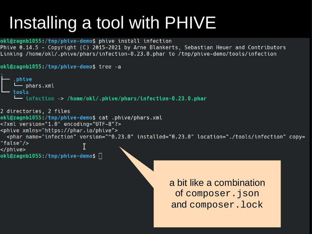 Installing a tool with PHIVE a bit like a combi...