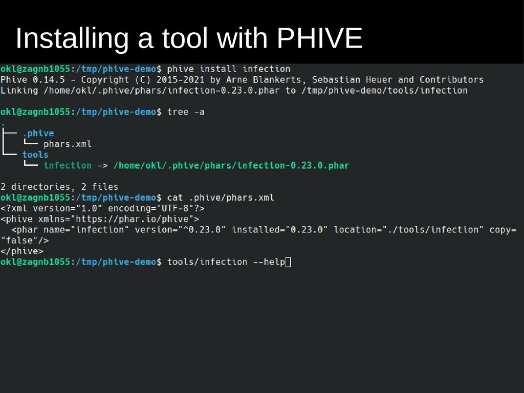 Installing a tool with PHIVE