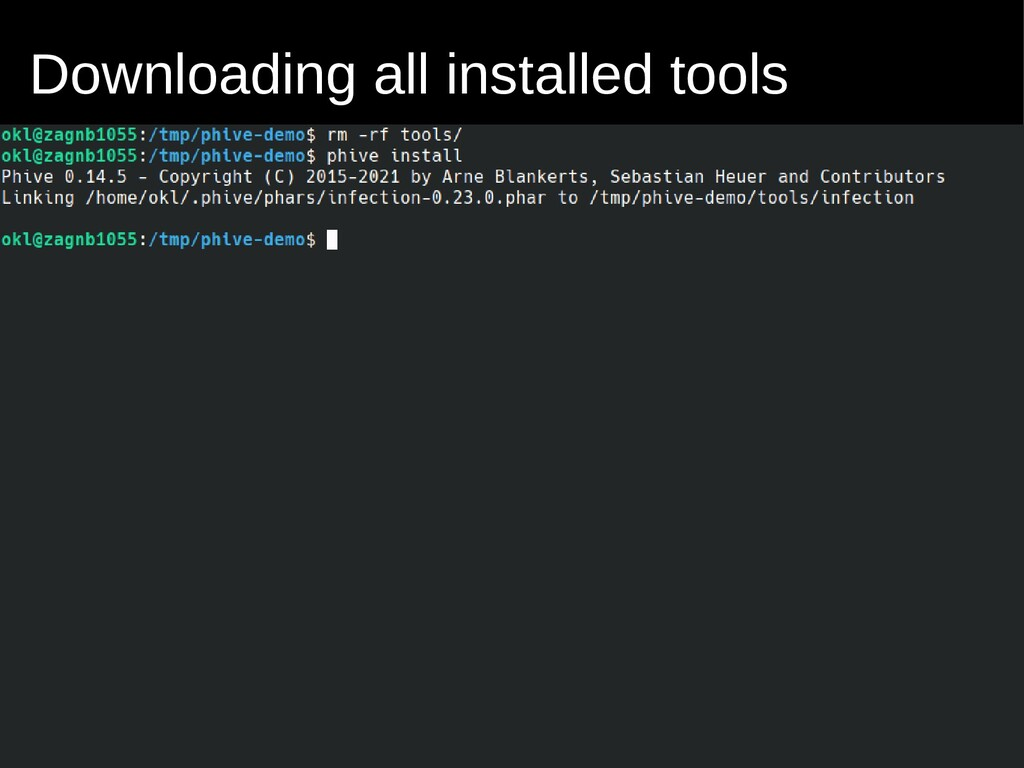 Downloading all installed tools