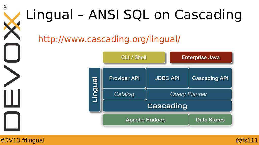 @fs111 #DV13 #lingual Lingual – ANSI SQL on Cas...