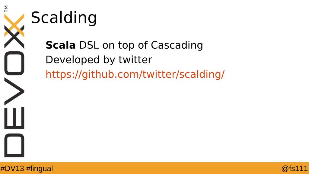 @fs111 #DV13 #lingual Scalding Scala DSL on top...