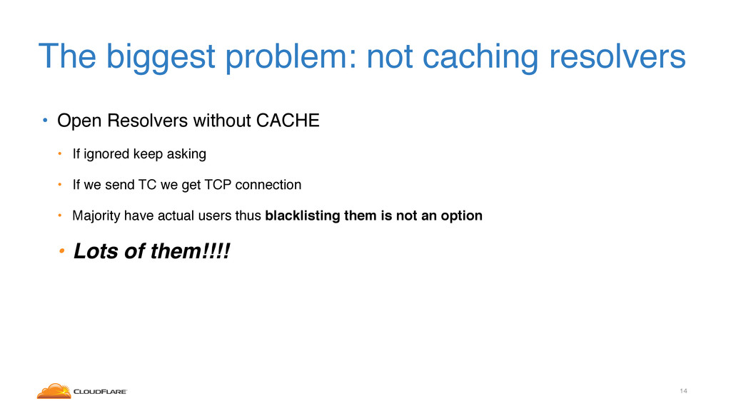 The biggest problem: not caching resolvers • Op...