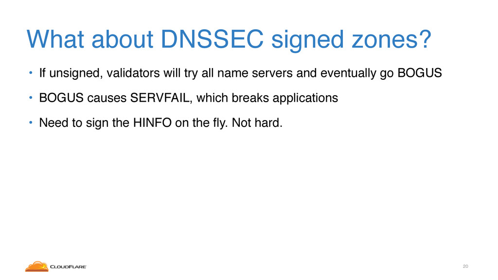 What about DNSSEC signed zones? • If unsigned, ...