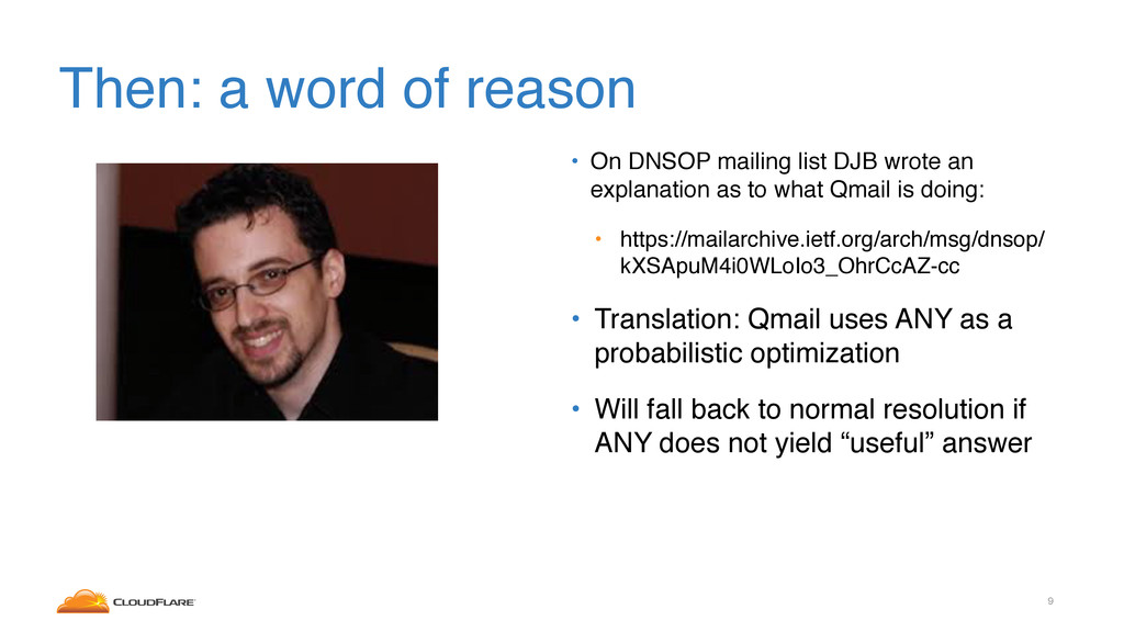 Then: a word of reason • On DNSOP mailing list ...