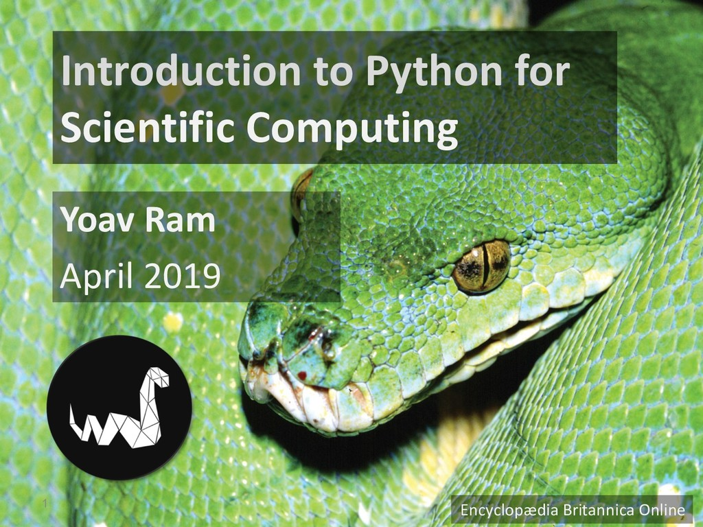 Introduction to Python for Scientific Computing...