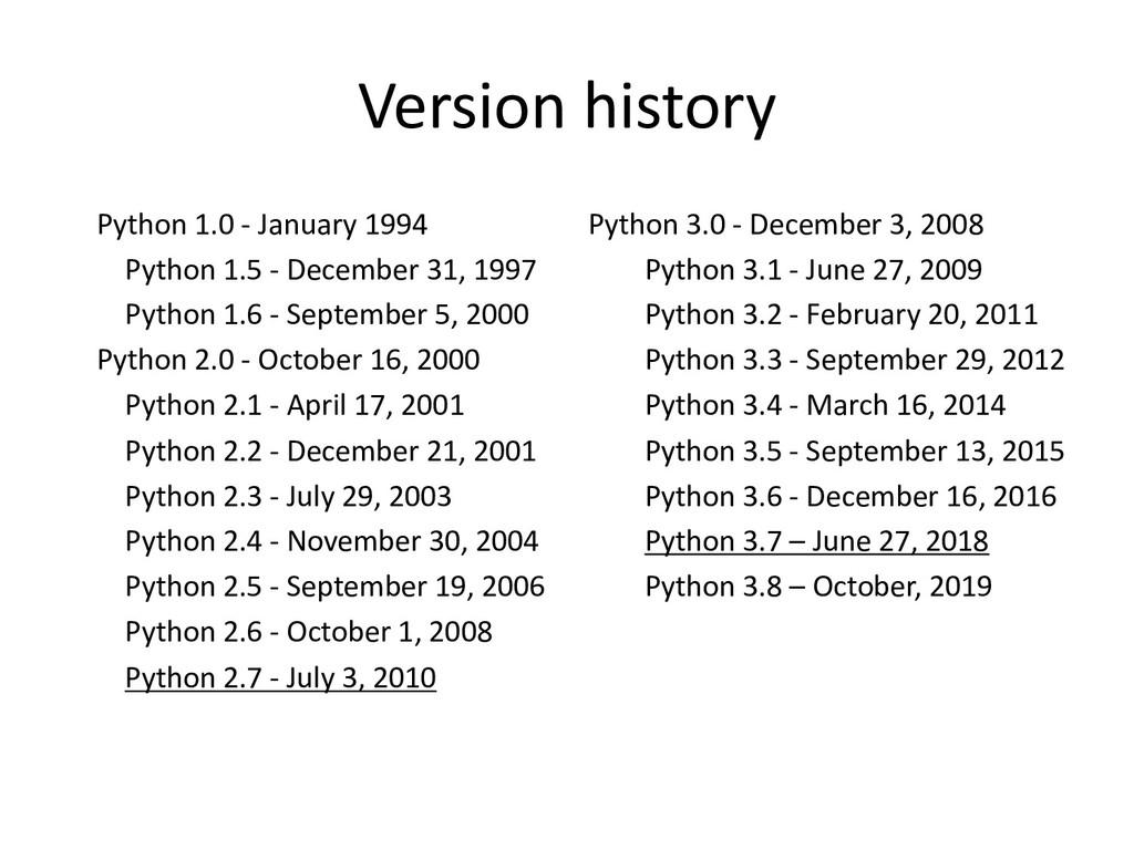 Version history Python 1.0 - January 1994 Pytho...