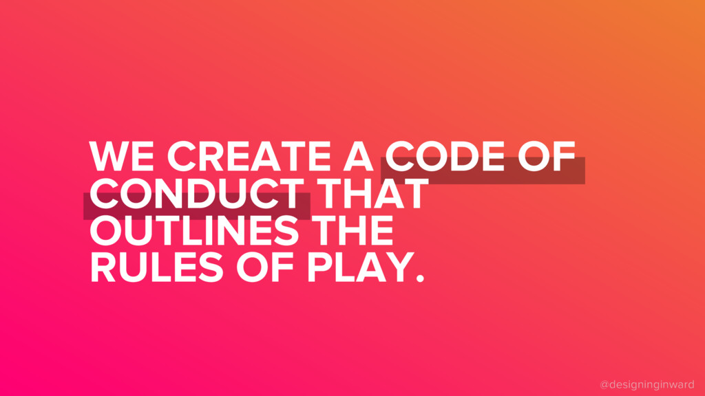 WE CREATE A CODE OF CONDUCT THAT OUTLINES THE R...