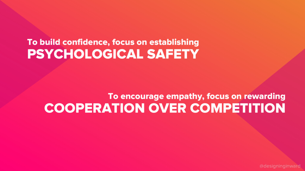 PSYCHOLOGICAL SAFETY To build confidence, focus...