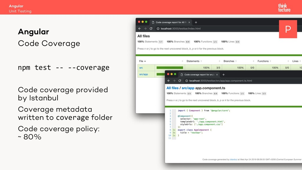 Code Coverage npm test -- --coverage Code cover...